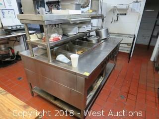 "Stainless Steel Gas Food Warmer Station And Contents 77"" x 48"""