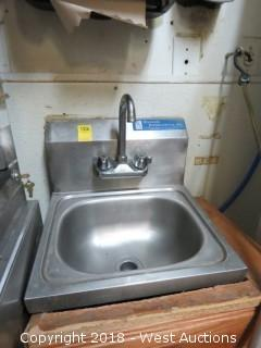 "Stainless Steel Single Basin Sink 16"" x 15"""