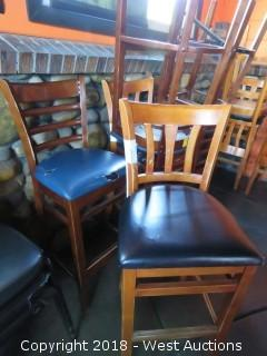 (6) Wood Bar Stools with Cushioned Seats