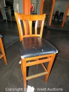 (10) Wood Bar Stools with Cushioned Seats