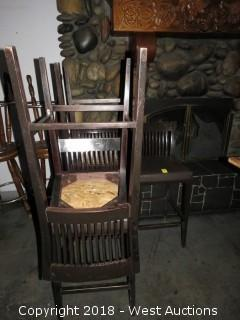 (5) Wood Chairs w/ Cushioned Seats