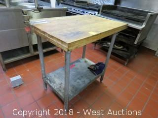 "Butcher Block Top Prep Station with Can Opener 36"" x 23"" x 36"""