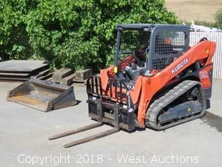 Kubota SVL75-2 Compact Track Loader with Bucket and Fork Attachments