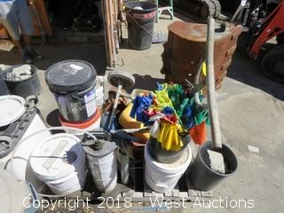 Pallet of Buckets, Hoses, Cart and Fire Extinguisher