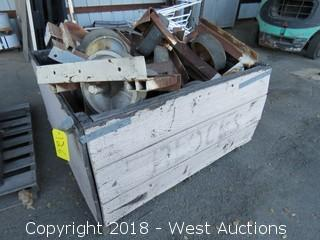 "(10+) 12"" Castors Mounted on Steel Frames"