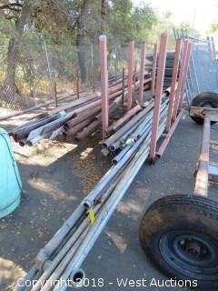 Rolling Steel Rack with Assorted Lengths of Pipe and Steel