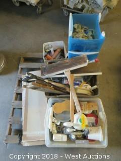 Pallet of Assorted Tools and Chemicals