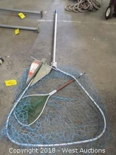(2) Fishing Net Poles and Anchor