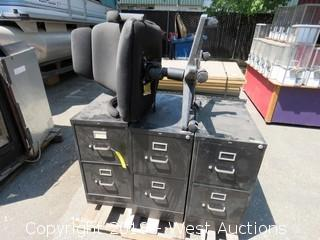 (3) 2-Drawer File Cabinets and Rolling Office Chair