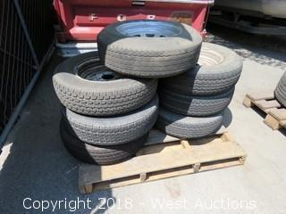 "(7) 15"" Trailer Tires with Steel Rims"