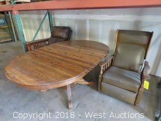 (1) Oval Table and (2) Wood Frame Reclining Chairs