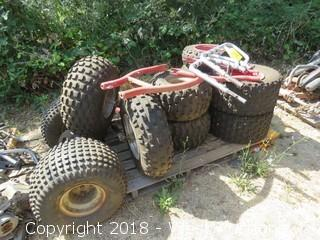(10+) ATV Tires; (4) ATV Front Forks