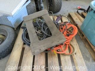 Pallet of Air Hoses, Wooden Dollie