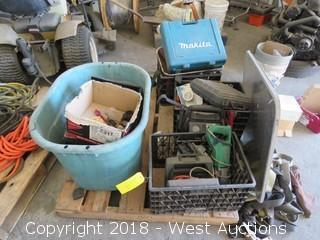 Pallet of Wheels, Power Tools, Extension Cords, Cleaning Supplies