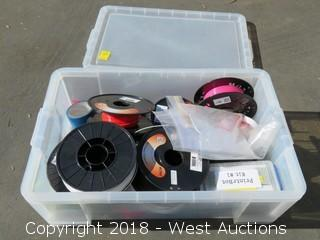 Tote of (8) 3D Printer Filament Spools and Associated Items