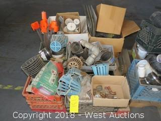 Pallet:  Assorted Pipe Fittings, Grates, Pipe Testers