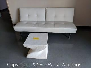 5' White Sofa and 2x2 Table