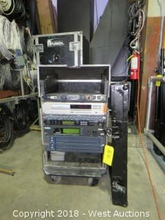 Audio Rack (with installed equipment) in Rolling Road Case