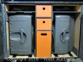 (2) Mackie SRM 450 Loud Speakers in Rolling Road Case