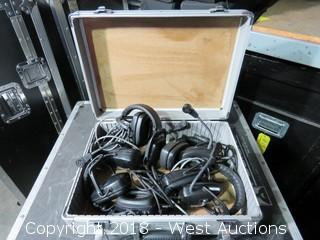 (5) Portacom Headsets with Microphones (in Road Case)