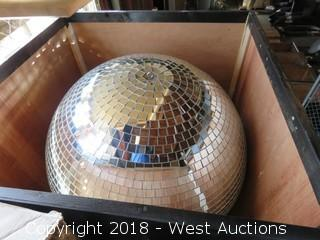 """36"""" Diameter Disco Mirror Ball in Padded Wooden Crate"""