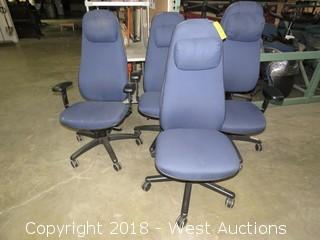 (4) Blue Hi-Back Office Chairs