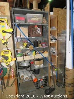 Steel Shelf with Assorted Zipties And Shrink Wrap