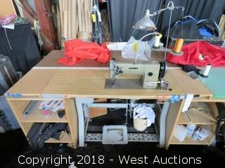 Juki DNU-241 Sewing Machine with Work Table and more