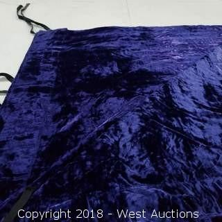"(9) Purple Crushed Velvet Flat 16' H 11'8"" W"