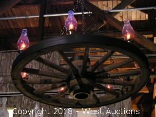 "Approx 42""x 12"" Wagon Wheel Chandelier"