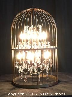 (2) Bird Cage Chandeliers with Rolling Wood Case