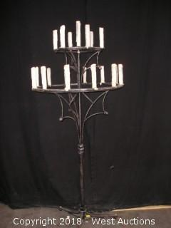 """(2) Gothic Steel Candelabra 36"""" Wide 48"""" Tall with Road Case"""