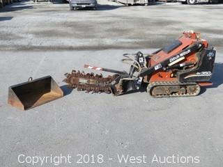 2005 Ditch Witch SK350 Ride On Skid Steer with Trencher and Bucket Attachment