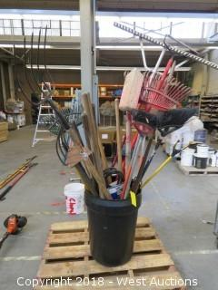 Bulk Lot; (20+) Yard Tools With Planter Pot