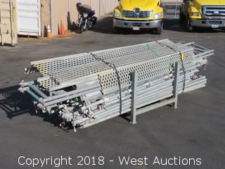 Bulk Lot; (115+) Galvanized Steel Scaffolding Units With Rack