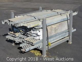 "Bulk Lot; (40+) 9"" and 11"" Wide Galvanized Steel Scaffold Walkways with Rack"