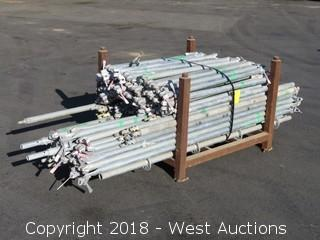 Bulk Lot; (135+) Galvanized Steel Scaffolding Risers And Braces With Rack