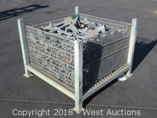 Steel Crate of Galvanized Scaffolding Bases, Risers, and Clamps