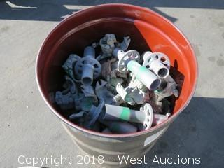 55-Gallon Drum of Galvanized Steel Scaffold Clamps and Adapters