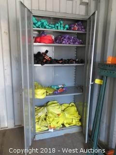 (75) New Rigging Slings And Chokers With 6' Steel Cabinet