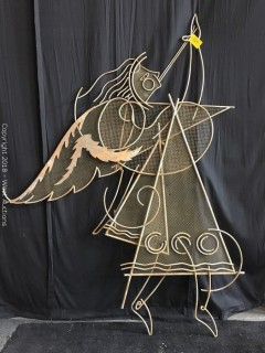 (4) Steel Angel Trumpet Playing Sculpture