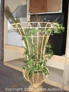 (2) Faux Wrought Iron French Garden Style Urns