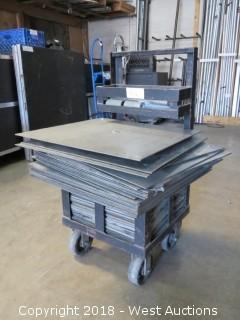 """Drape Plate Cart with (55)+ 24"""" and 18"""" Drape Plates and (7) Risers"""