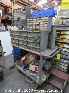 Work Cart and Contents - Drill Bits, Electric Motor, Hardware