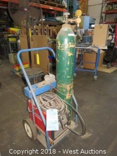 Lincoln Idealarc SP-100 Arc Welder with Cart and Bottle