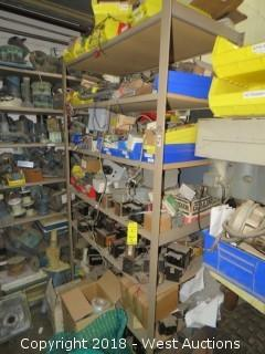 Shelves and Contents - Transformers, Circuit Breakers, Wiring, Components
