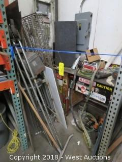 Bulk Lot: Rolling Wire Rack Shelf Components; Work Bench; Electric Motor; Assorted Electrical Wiring