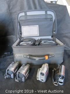 (4) Sony Handycam Digital Camcorders with Accessories and Case