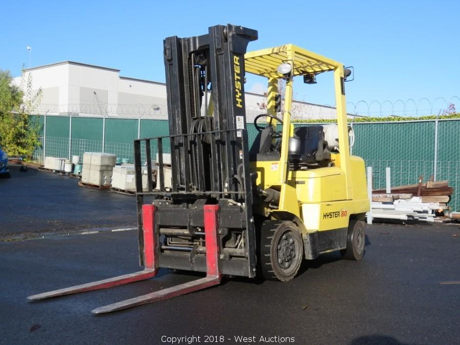 Online Auction of 2008 Hyster S80XM 7,150 lbs Propane Forklift