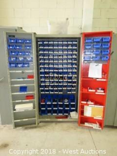"""74"""" Solid Steel Cabinet Full of Machinists Tooling and Specialty Fittings"""